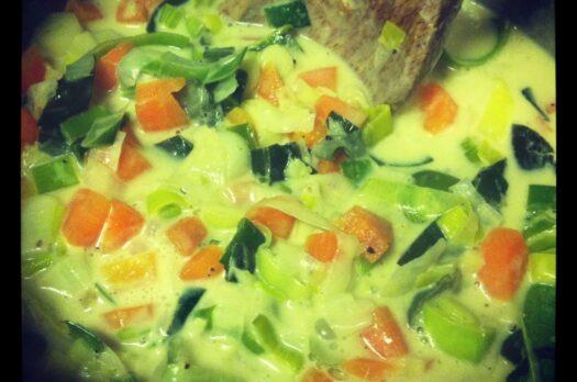 Torsk i grøn karry og kokosmælk