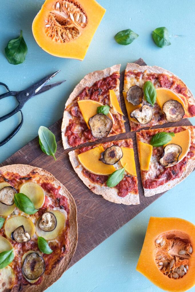 Tortilla pizza med kartoffel og butternut squash