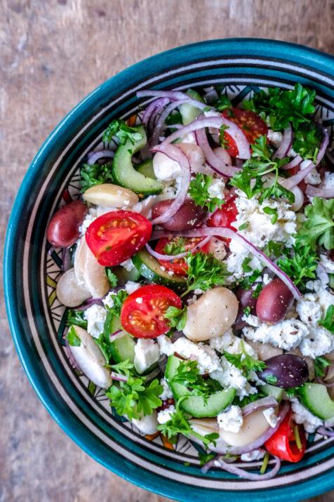 Græsk salat med butterbeans